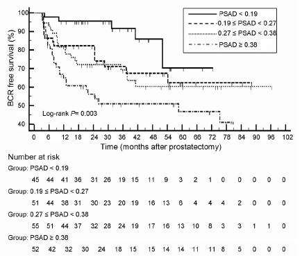 Figure 1: Kaplan-Meier analysis of BCR-free survival categorized by PSAD quartiles in patients with IRPCa; Pairwise analysis, significant between PSAD < 0.19 versus 0.27 ≤ PSAD < 0.38 (<i>P</i> = 0.025), and between PSAD < 0.19 versus PSAD ≥ 0.38 (<i>P</i> < 0.001). BCR: biochemical recurrence; IRPCa: intermediate-risk prostate cancer.