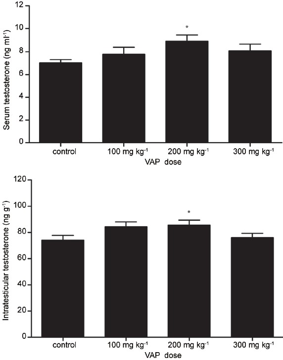Figure 2: Effects of VAP on the levels of serum testosterone and intratesticular testosterone. All values are mean ± s.e.m., *<i>P</i> < 0.05 compared with control group.