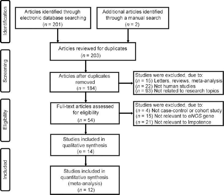 Figure 1: Flowchart showing the detailed steps of study screening procedure and reasons for exclusion. Twelve studies were included in this meta-analysis.