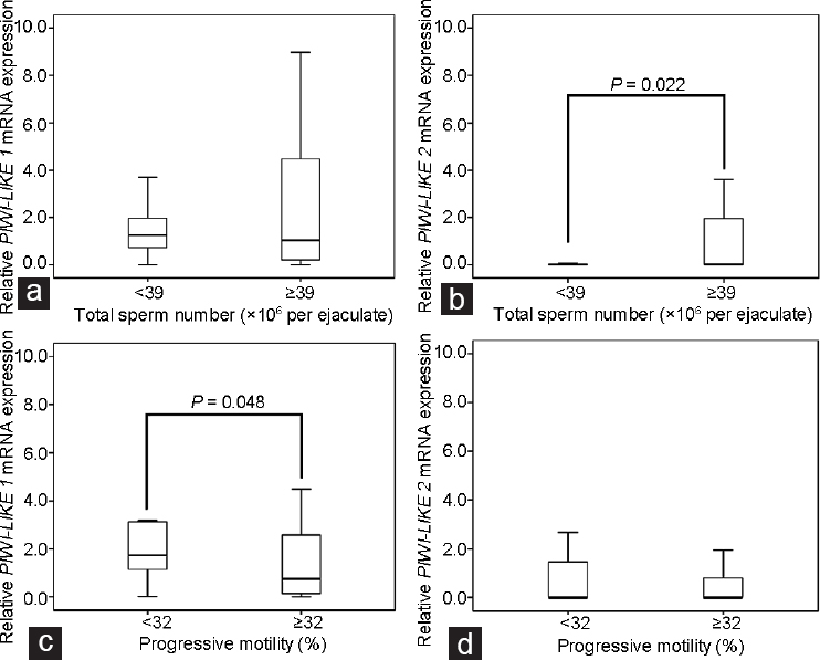 Figure 1: Box-plots comparing the relative mRNA expression of the <i>PIWI-LIKE 1</i> and <i>PIWI-LIKE 2</i> (expressed in Δ C<sub>T</sub> values) in ejaculated spermatozoa stratified to total sperm count and progressive motility. While (<b>a</b>) <i>PIWI-LIKE 1</i> expression was not associated with sperm count, (<b>b</b>) samples from patients with oligozoospermia (<39 × 10<sup>6</sup> spermatozoa per ejaculate; <i>n</i> = 26) exhibited a decreased <i>PIWI-LIKE 2</i> mRNA expression in comparison with normozoospermia (≥39 × 10<sup>6</sup> spermatozoa per ejaculate; <i>n</i> = 57, <i>P</i> = 0.022, Mann–Whitney <i>U</i>-test). (<b>c</b>) Samples from patients with asthenozoospermia (<32%; <i>n</i> = 23) exhibited an increased <i>PIWI-LIKE 1</i> mRNA expression compared with normozoospermic patients (≥32%; <i>n</i> = 60; <i>P</i> = 0.048, Mann–Whitney <i>U</i>-test), while (<b>d</b>) <i>PIWI-LIKE 2</i> mRNA expression was not associated with motility. Note the different y-axis scales indicating the higher expression of <i>PIWI-LIKE 1</i> mRNA in comparison to <i>PIWI-LIKE 2</i> mRNA. The boxes designate the distribution of 50% of the measured values; the lines designate the median value. The whiskers define the 2.5% and 97.5% quantiles.